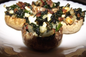 Spinach, Bacon & Feta Stuffed Mushrooms
