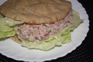 Deviled Ham Salad on a low-carb pita