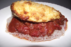 Parm-crusted chicken, easy spaghetti sauce on shirataki noodles