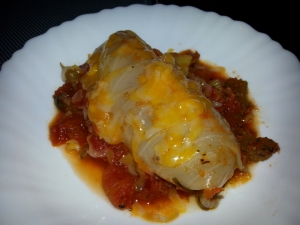 Cabbage Roll w/ Homemade Stewed Tomatoes
