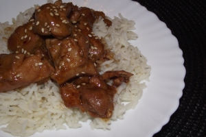 Bourbon Chicken over Garlic Rice