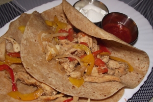Red and Yellow Peppers, Onions and Chicken Breast Fajita