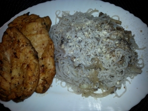Mushroom Noodles with BBQ chicken breasts