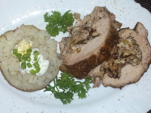 Stuffed Pork Loin with Herbed Bake Potato