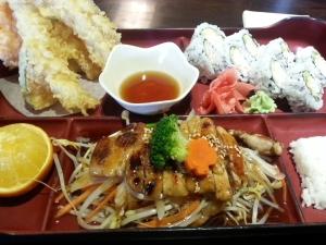 Lunch Box C  - Teryaki Chicken, California Roll and Tempura